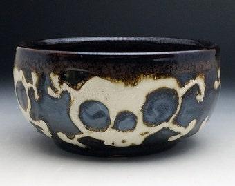 Pirate Soup Bowl, Bronze Glazed Four Skulls Stoneware Bowl