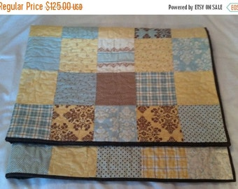 BIG SALE Hand Made Baby Quilt - Lap Quilt - Scrappy Block -  Moda Lily & Will II