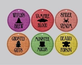 Set of 12 Halloween tags, halloween food tags, halloween hang tags halloween party tags trick or treat tags