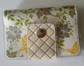 Cash/Card Wallet - Yellow Floral/Walla Wallat, silver, flowers, chic, classy polka dots, ID case, card/cash case, vinyl wallet, snap wallet