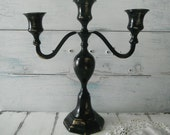 black candelabra candle holder Halloween decor cottage decor tapered candle holder cottage chic 3 arm candelabra wedding decor bridal shower