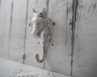 horse wall hook shabby cottage single hook cast iron hook french country aged look hook cottage grungy wall hook horse lovers rustic decor