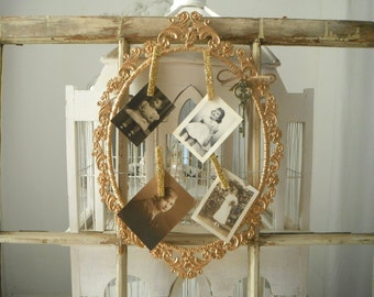 notice board metal photo frame picture frame shabby chic metallic gold frame oval frame filigree frame ornate frame french country with pegs