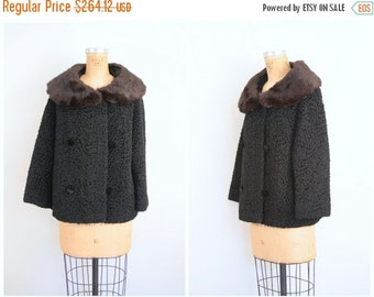 20% SALE vintage 50s faux persian lamb coat - black curly lambswool coat / 1950s classic coat - plush rabbit fur collar / ladies jacket