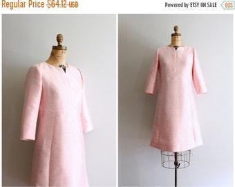SALE / 1960s pastel pink mod cocktail dress - high waisted A line dress / petal pink mod dress 60s dress / vintage 60s bridesmaid dress