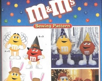 Simplicity 8994 M&M's Characters Stuffed Animal Hat Wings Toy Ornament Sewing Pattern UNCUT
