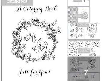wedding coloring book etsy - Wedding Coloring Book