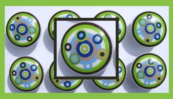 1  (one)  GREEN BROWN BLUE Round Geo Circle dot  boys kids mtm bedding sets  Dresser Drawer knob