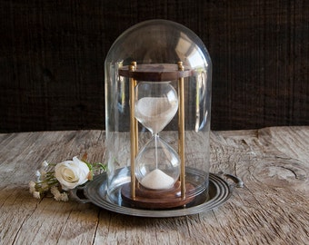 Vintage Glass Dome with Metal Base