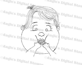 Baby Eating Digital Stamp Image