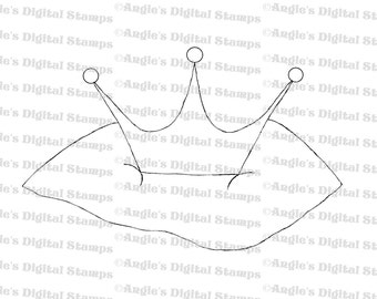 Crown on a Pillow Digital Stamp Image