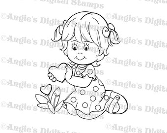 Little Lila Picking Flowers Digital Stamp Image