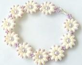 Flower Bracelet - Daisy Bracelet - Pearl Flower Bracelet - Flower Girl Bracelet - Bridesmaid Flower Bracelet - Daisy Jewelry - Daisy Flower