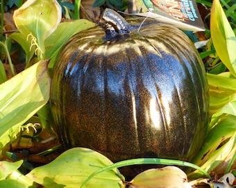 Elegant Black  Artificial  Pumpkin w Gold metal flake. 10.00 Off list price.  FREE pack of Pumpkinteeth.