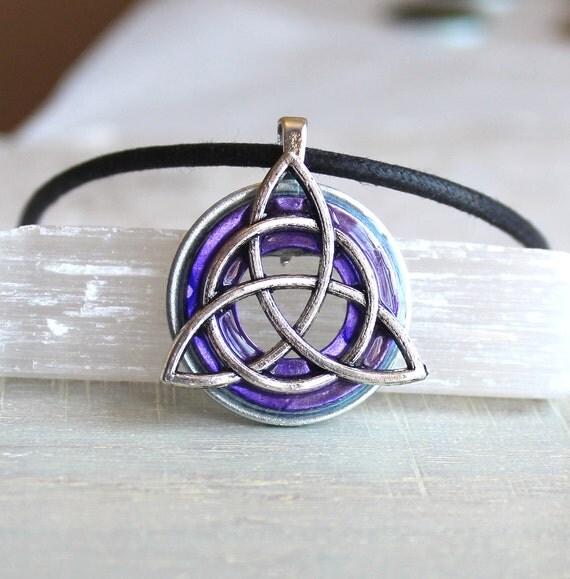 purple triquetra necklace, celtic jewelry, mens necklace, irish jewelry, unique gift, mens jewelry, mens gift, celtic knot, endless knot