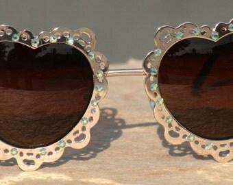 Hippie Sunglasses, Heart Shaped Sunglasses, Silver Heart Sunglasses with Swarovski Crystals