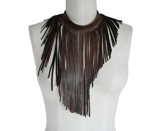 Leather fringe necklace - Fringe chokers for women - Brown goatskin - distressed leather - Long fringe necklace - non metal- Punk Rocker