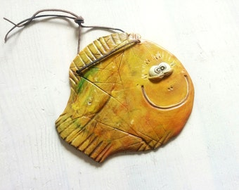 Happy fish - cute handmade orange yellow smiling ceramic fish hanger ornament decoration made with clay
