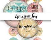 Boho Digital Collage,Digital Download,Round digital Collage, 1 inch, cabochon download,pattern,Digital Collage Round, gracie and joy