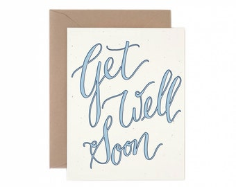 A2 Get Well Soon Script Greeting Card, hand illustrated, kraft and navy