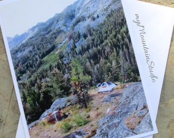 Backpack Camp Overlook Photo Note Card. Montana Outdoor Photography. Ready to Ship.