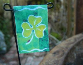 Fairy Garden Flag Miniature St. Patricks Day Flag Miniature Accessories Miniature Flag Clover Flag Tiny Garden Flag
