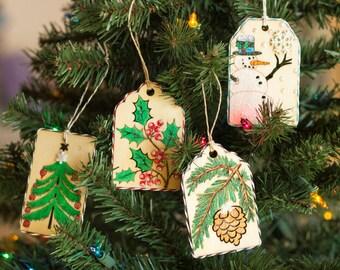 Season's Greetings Wooden Gift Tag Set