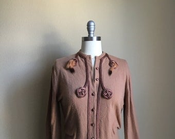 Vintage 50s 60s Tan Cardigan with Satin and fur trim and Sweater
