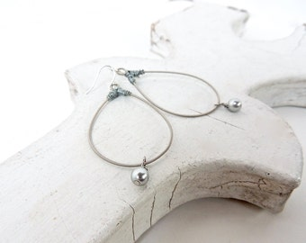 GUITAR STRING EARRINGS - silver pearl earrings - recycled/eco-friendly/upcycled jewelry - under 25.00