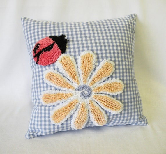 Shabby Chic Vintage Style Chenille Flower Pillow Cover in Blue