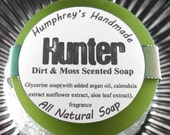 HUNTER soap, Dirt and Moss Scented Men's Shave & Shampoo Soap, Men's Hunting Beard Wash, Round Soap Puck, Glycerin Green Lather