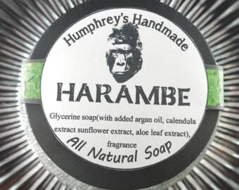 HARAMBE Shave Soap, Men's Gorilla Beard Wash, Round Puck, Barber Shop Type, Glycerin Base, Very Sexy Scent, Bergamot mint sage musk wood