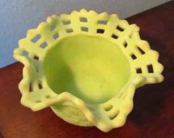 Vintage Fenton Burmese Satin Green Basket Weave Base & Ruffled Rim