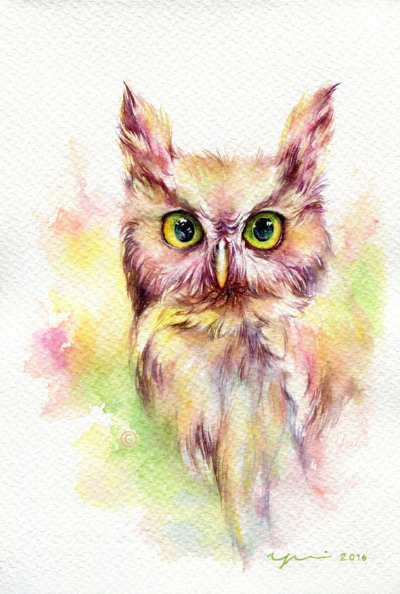 Fantasy Owl - ORIGINAL watercolor painting 7.5x11 inches