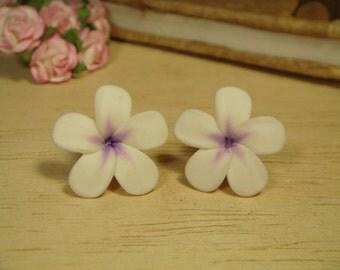 Sweet White Plus Purple Plumeria Frangipani Post/Stud Earrings (E100)