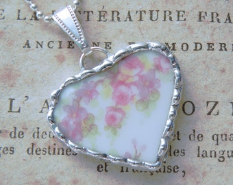 Fiona & The Fig Victorian-Pink Roses-Antique-French Limoges Broken China Soldered Necklace Pendant Charm-Jewelry