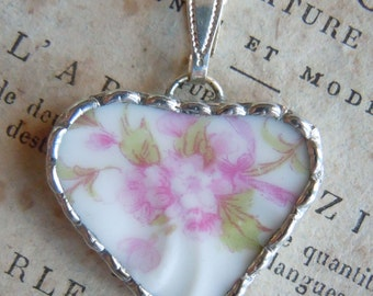 Fiona & The Fig Victorian French Limoges PINK ROSES-Broken China Soldered Necklace Pendant Charm-Jewelry