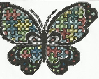 AUTISM BUTTERFLY Wall Hanging Plastic Canvas Pattern