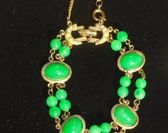 Beautiful Designer Semi-Precious Jade Bracelet, Half Moon Clasp with Faux Pearls and Safety Chain