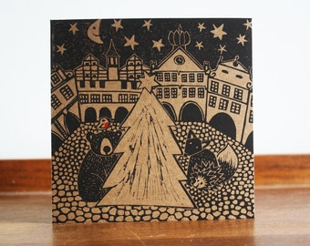Christmas in Town, Original Hand Printed Card, Linocut Card, Christmas Blank Greeting Card, Brown Kraft Card, Free Postage in UK,