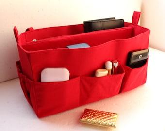 Large Bag organizer - Purse organizer insert in Cherry Red fabric