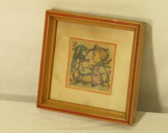 Vintage Small Square Hummel Pic Old Antique Photo Paper