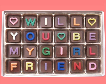 Will You Be My Girlfriend Chocolate Jelly Bean Cube CandyWomens Gift for Her Ask Luxury Idea Cute Love Unique Funny Valentines Day Gift