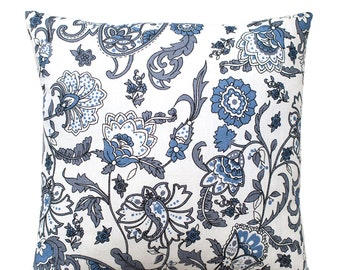 Blue Floral Pillow Blue and White Linen Floral Cover