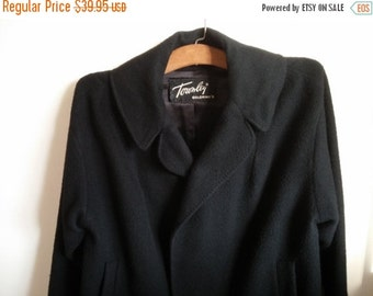 Vintage Black Imported Cashmere Jacket Women Open Swing Outerwear Townley