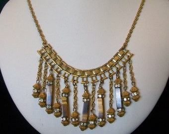 MIRIAM HASKELL Necklace Egyptian Revival Glass Rhinestone Bead Drop Vintage 1970