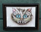 Original Cheshire Cat surreal drawing