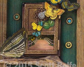 Butterfly Bridge -  Print on Wood Block