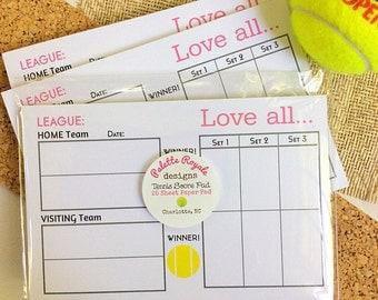 """50 Sheet Tennis League Scoring Pad 4"""" x 6"""""""