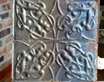 "Genuine Antique Ceiling Tile -- 12"" x 12"" -- Bare Metal with Rainbow Colored Patina -- Squiggle Design"